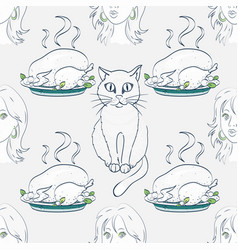 Cat woman and cooked turkey seamless pattern vector