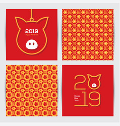 chinese 2019 new year greeting cards set vector image