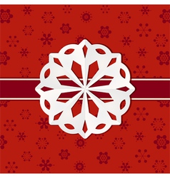 Christmas paper snowflake background vector image