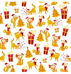 Christmas pattern with dogs and gifts new year vector