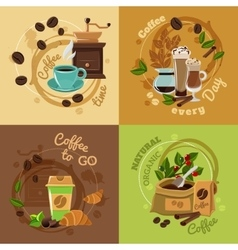 Coffee Concept 4 Flat Icons Square vector image