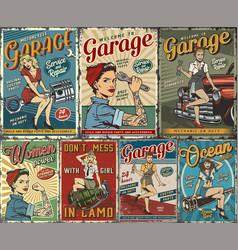 colorful pin up posters collection vector image