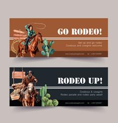 Cowboy banner design with horse man cactus vector