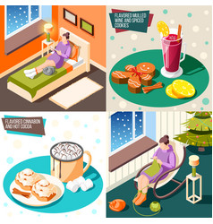 cozy winter 2x2 design concept vector image
