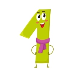 Cute and funny colorful 1 number characters vector image vector image