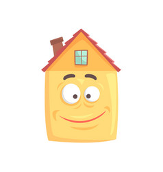 Cute house cartoon character with smiling happy vector
