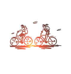 Cycle tourism bicycle ride tourists active vector