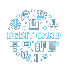 debit card round outline creative vector image