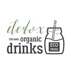 detox organic drinks logo vector image