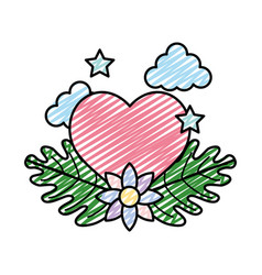 doodle heart with stars and ecology flower leaves vector image