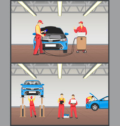 engine maintenance and car suspension inspection vector image
