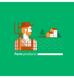 Farming industry farmer with fork farm house vector