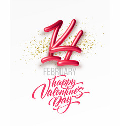 february 14 golden realistic 3d lettering vector image