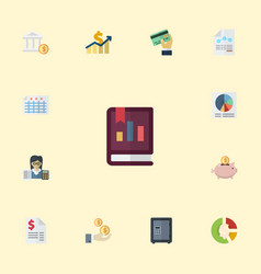 Flat icons bookkeeper bank sheet and other vector