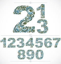 Floral numbers drawn using abstract vintage vector