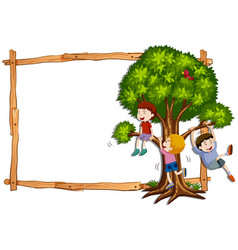 frame template with kids climbing the tree vector image