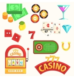 Gambling And Casino Night Club Set Of Symbols vector image vector image