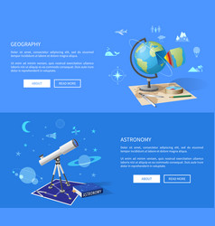 Geography and astronomy classes informative page vector