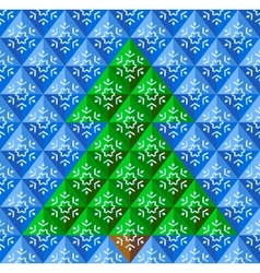 Geometrical Christmas tree snowflake background vector image
