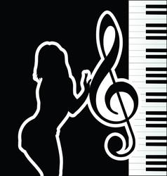 girl with violin key silhouette vector image