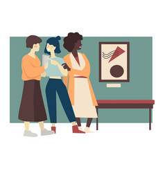 Girlfriends visiting art gallery exhibition vector