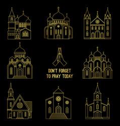 gold line christian church set vector image