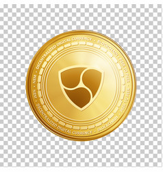golden nem blockchain coin symbol vector image