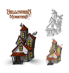 Halloween monsters haunted house EPS10 file vector
