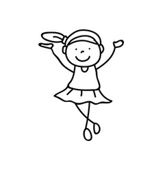 hand drawing abstract happy cute girls line art vector image