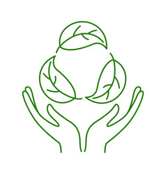 hands holding leaves no plastic go green zero vector image
