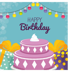 happy birthday card with sweet cake and gifts vector image
