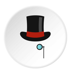 Hat with monocle icon circle vector