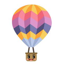 Hot air balloon transportation cartoon character vector