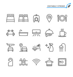hotel service line icons editable stroke vector image