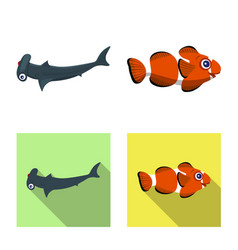 isolated object of sea and animal logo set of sea vector image