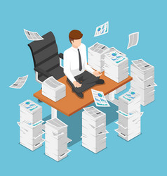 isometric businessman doing meditation on desk vector image