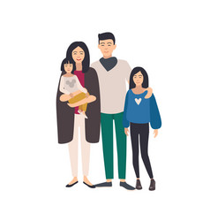 Large loving asian family father mother holding vector
