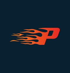 letter p flame logo speed logo design concept vector image