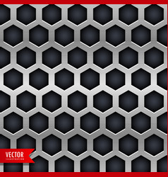 Metal background with hexagonal shapes holes vector