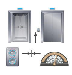 Modern metal elevator with buttons and decorative vector