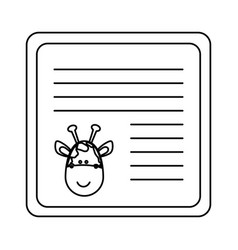 Monochrome card with male giraffe head vector