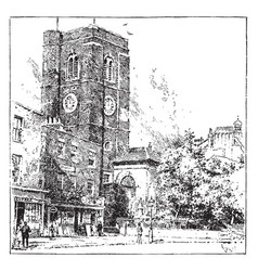 Old church at chelsea innovation vintage engraving vector
