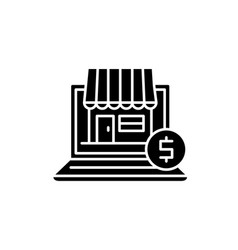 online commerce black icon sign on vector image