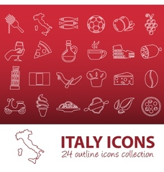 outline italy icons vector image