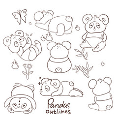 outlines pandas on a white background vector image