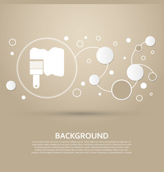 paint brush icon on a brown background with vector image