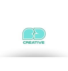 Pastel green alphabet letter bd b d combination vector
