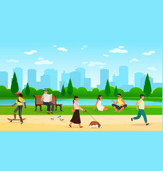 people walking park women men activity outdoors vector image