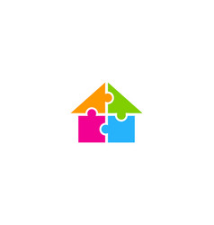 puzzle house logo icon design vector image