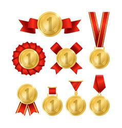 realistic 3d detailed golden award medal set vector image